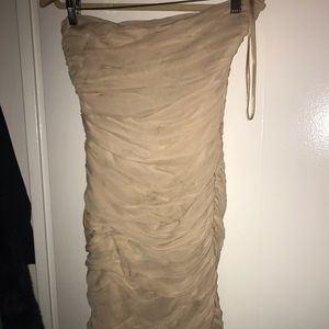 Nude colored DVF ruched minidress
